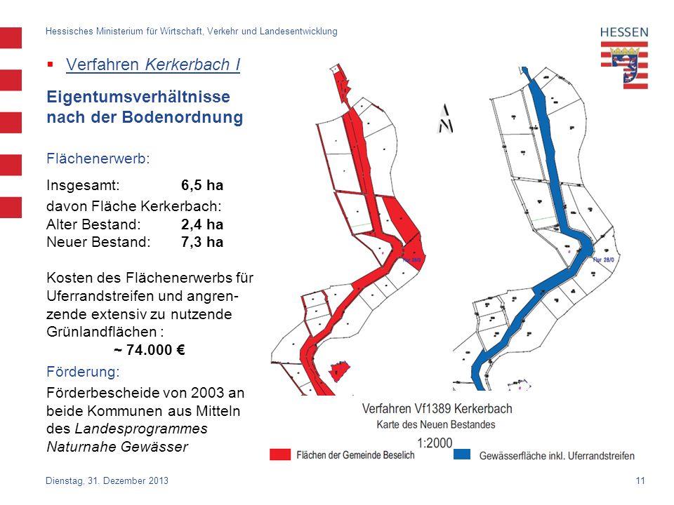 11 Verfahren Kerkerbach I Dienstag, 31. Dezember 2013 Hessisches Ministerium für Wirtschaft, Verkehr und Landesentwicklung Eigentumsverhältnisse nach