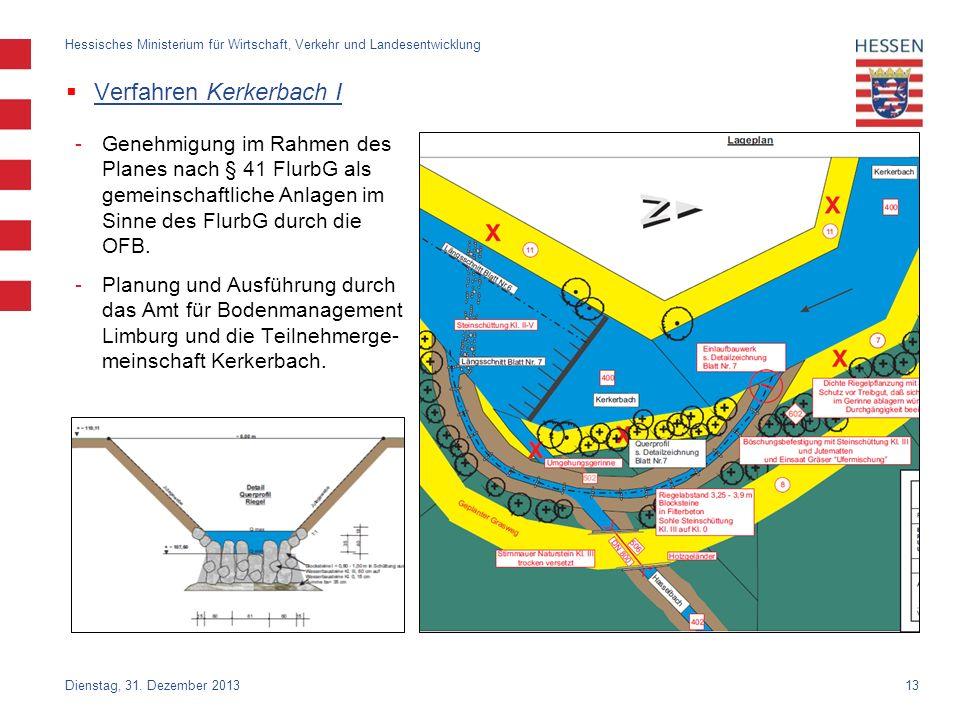 13 Verfahren Kerkerbach I Dienstag, 31. Dezember 2013 Hessisches Ministerium für Wirtschaft, Verkehr und Landesentwicklung -Genehmigung im Rahmen des
