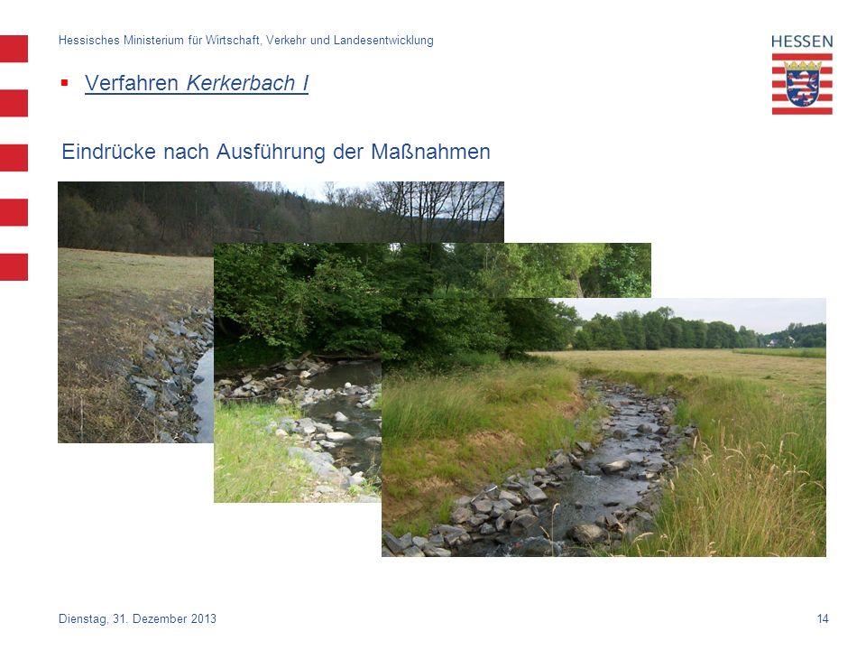 14 Verfahren Kerkerbach I Dienstag, 31. Dezember 2013 Hessisches Ministerium für Wirtschaft, Verkehr und Landesentwicklung Eindrücke nach Ausführung d