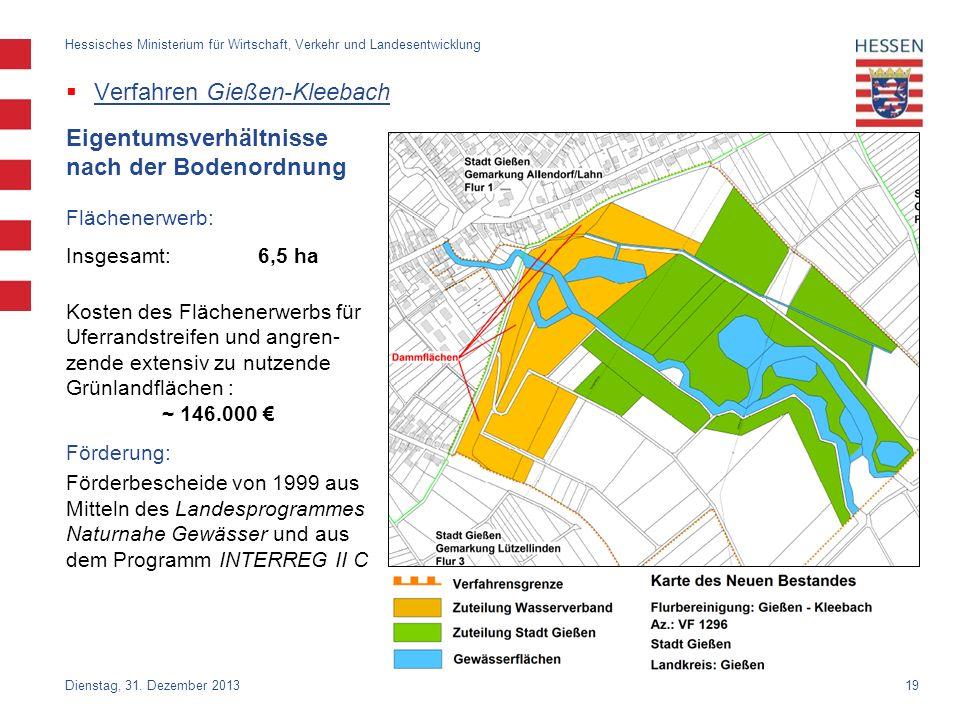 19 Verfahren Gießen-Kleebach Dienstag, 31. Dezember 2013 Hessisches Ministerium für Wirtschaft, Verkehr und Landesentwicklung Eigentumsverhältnisse na