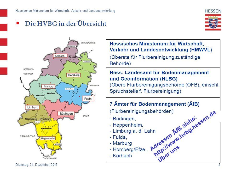 2 Dienstag, 31. Dezember 2013 Hessisches Ministerium für Wirtschaft, Verkehr und Landesentwicklung Die HVBG in der Übersicht Hessisches Ministerium fü