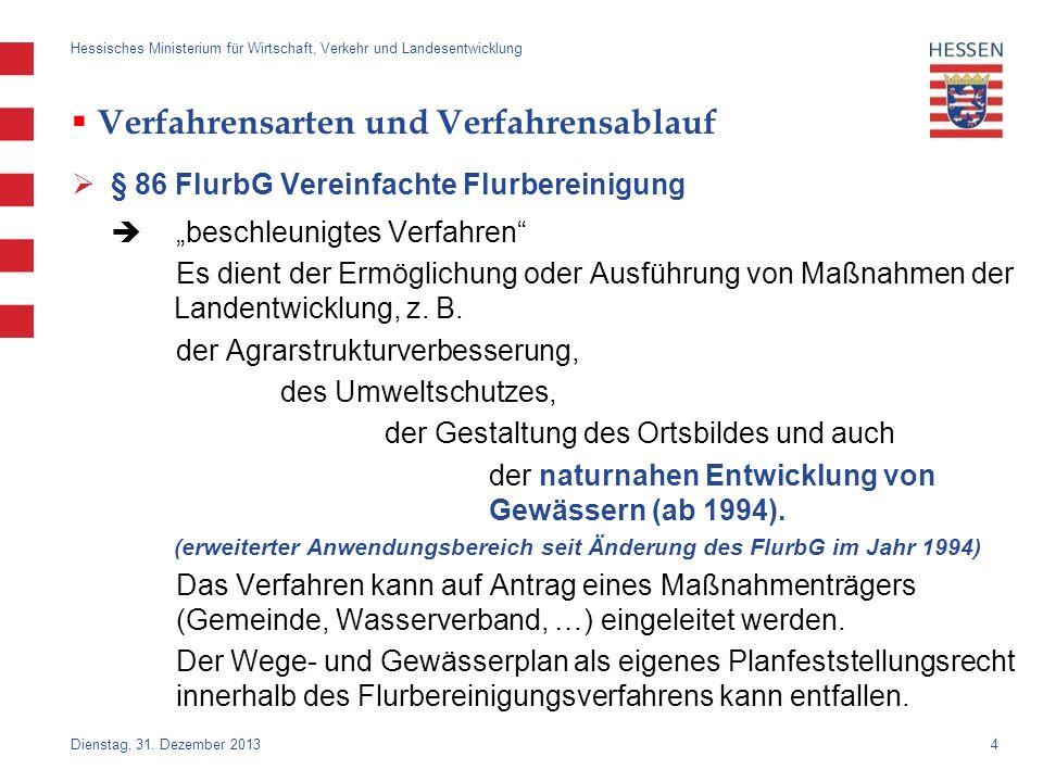 4 Dienstag, 31. Dezember 2013 Hessisches Ministerium für Wirtschaft, Verkehr und Landesentwicklung Verfahrensarten und Verfahrensablauf § 86 FlurbG Ve