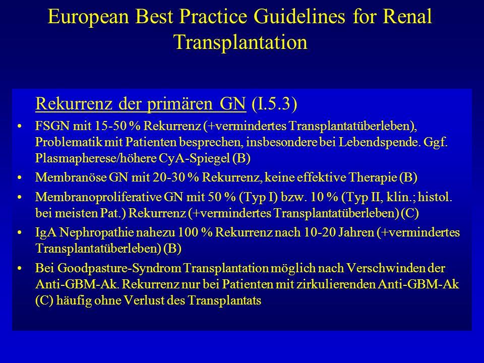 European Best Practice Guidelines for Renal Transplantation Rekurrenz der primären GN (I.5.3) FSGN mit 15-50 % Rekurrenz (+vermindertes Transplantatüb