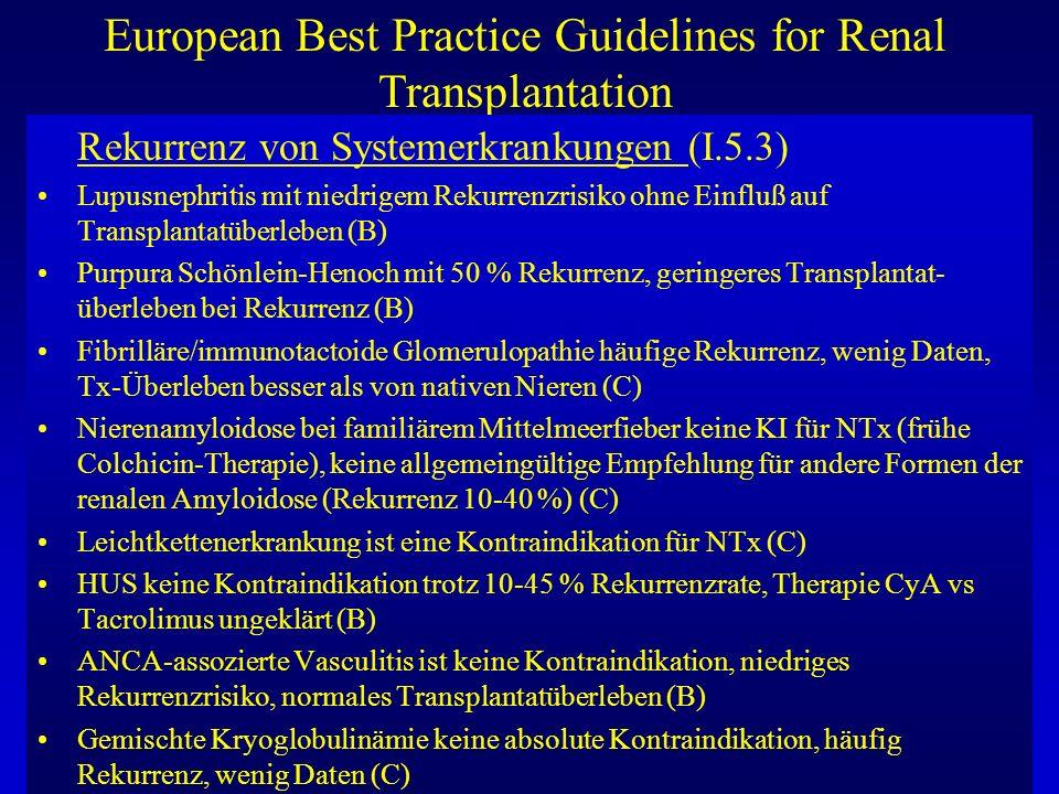 European Best Practice Guidelines for Renal Transplantation Rekurrenz von Systemerkrankungen (I.5.3) Lupusnephritis mit niedrigem Rekurrenzrisiko ohne