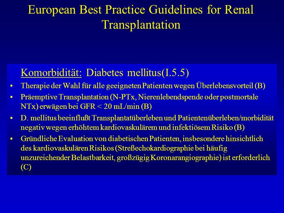 European Best Practice Guidelines for Renal Transplantation Komorbidität: Diabetes mellitus(I.5.5) Therapie der Wahl für alle geeigneten Patienten weg