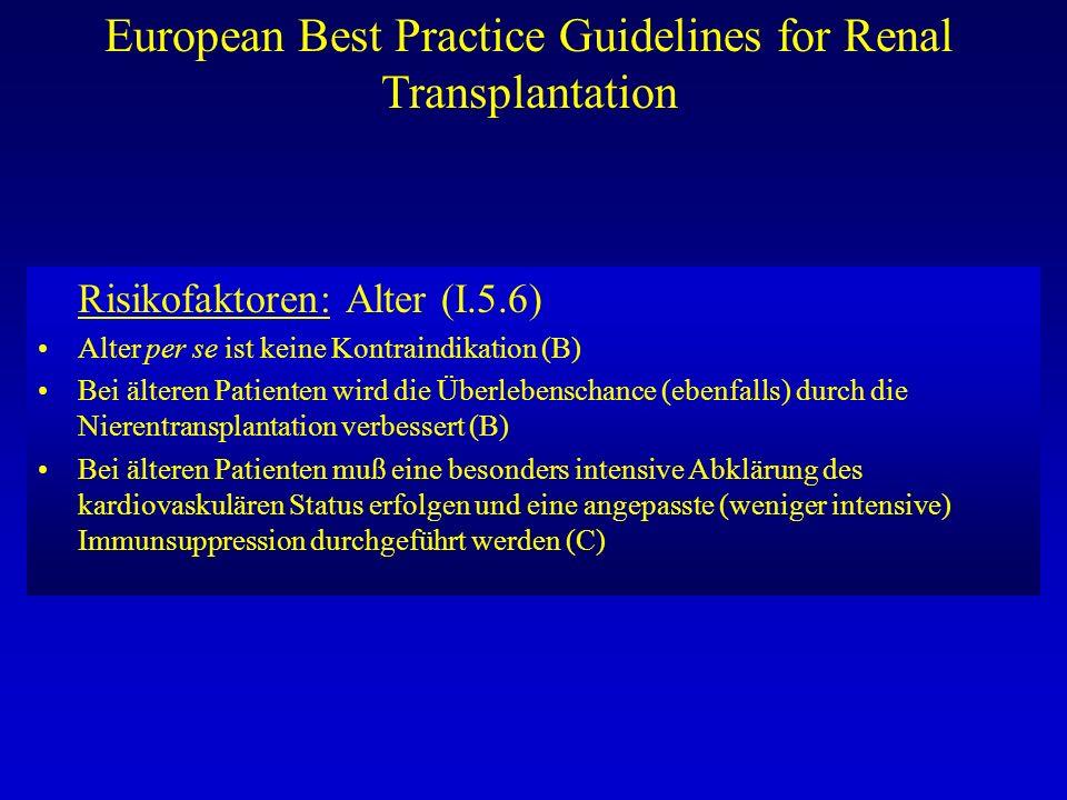 European Best Practice Guidelines for Renal Transplantation Risikofaktoren: Alter (I.5.6) Alter per se ist keine Kontraindikation (B) Bei älteren Pati