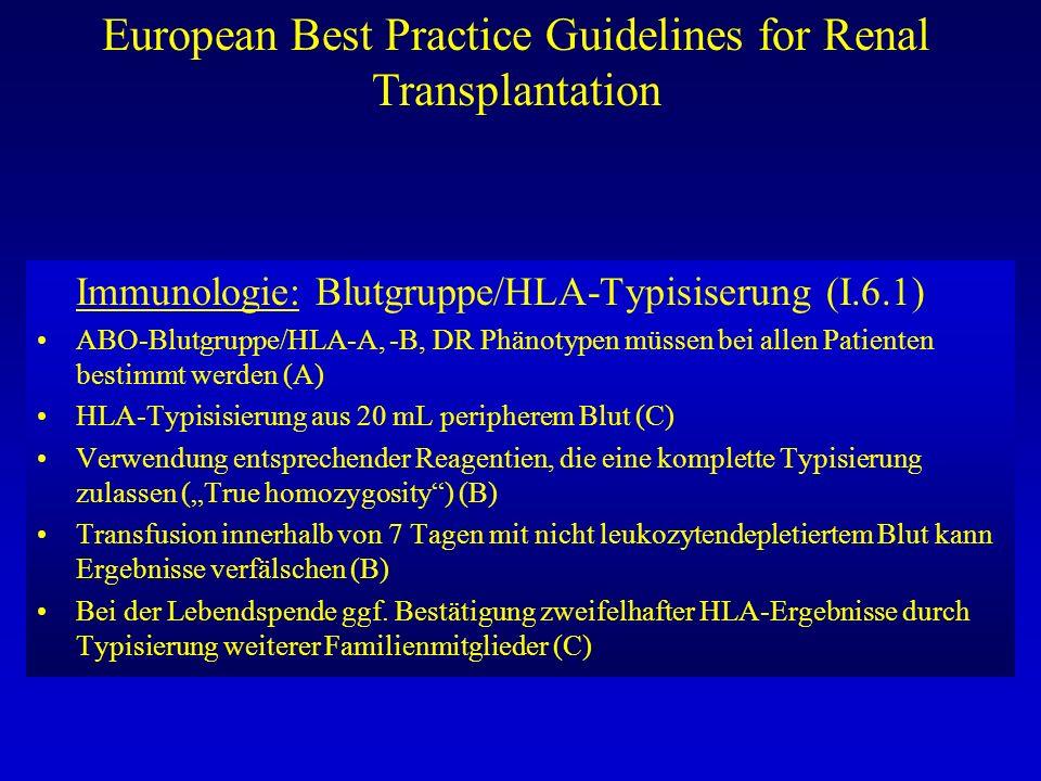 European Best Practice Guidelines for Renal Transplantation Immunologie: Blutgruppe/HLA-Typisiserung (I.6.1) ABO-Blutgruppe/HLA-A, -B, DR Phänotypen m