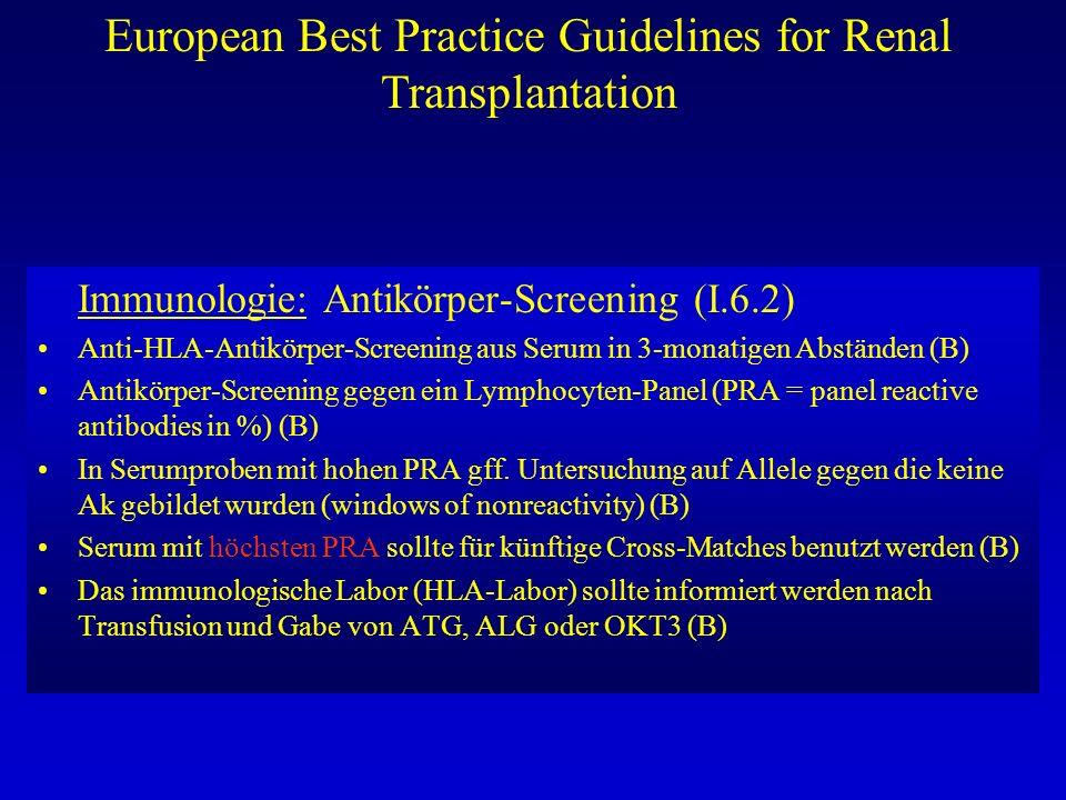 European Best Practice Guidelines for Renal Transplantation Immunologie: Antikörper-Screening (I.6.2) Anti-HLA-Antikörper-Screening aus Serum in 3-mon
