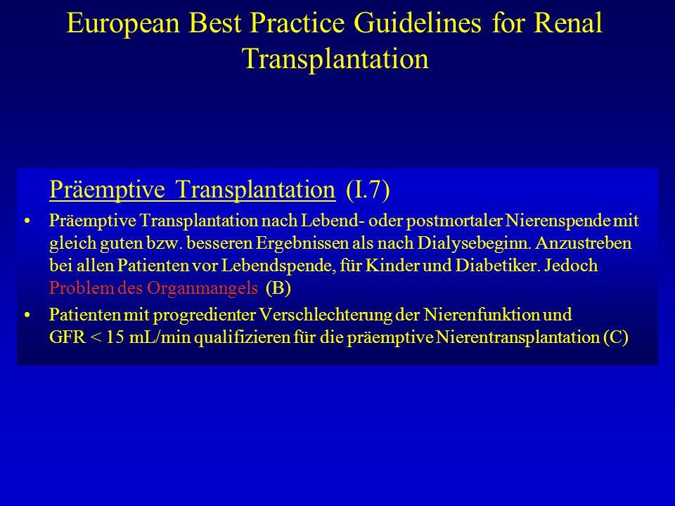 European Best Practice Guidelines for Renal Transplantation Präemptive Transplantation (I.7) Präemptive Transplantation nach Lebend- oder postmortaler