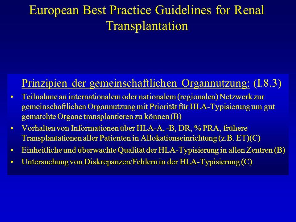 European Best Practice Guidelines for Renal Transplantation Prinzipien der gemeinschaftlichen Organnutzung: (I.8.3) Teilnahme an internationalem oder