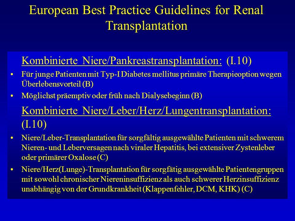 European Best Practice Guidelines for Renal Transplantation Kombinierte Niere/Pankreastransplantation: (I.10) Für junge Patienten mit Typ-I Diabetes m