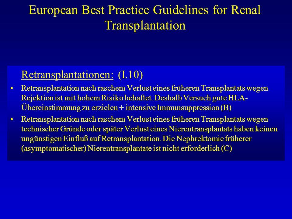 European Best Practice Guidelines for Renal Transplantation Retransplantationen: (I.10) Retransplantation nach raschem Verlust eines früheren Transpla