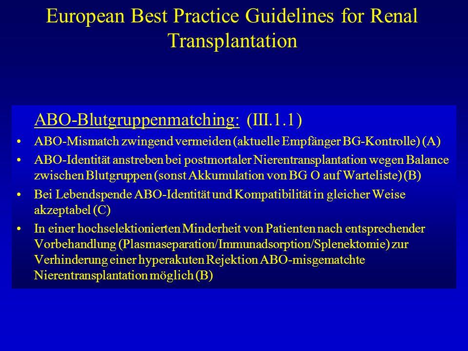 European Best Practice Guidelines for Renal Transplantation ABO-Blutgruppenmatching: (III.1.1) ABO-Mismatch zwingend vermeiden (aktuelle Empfänger BG-