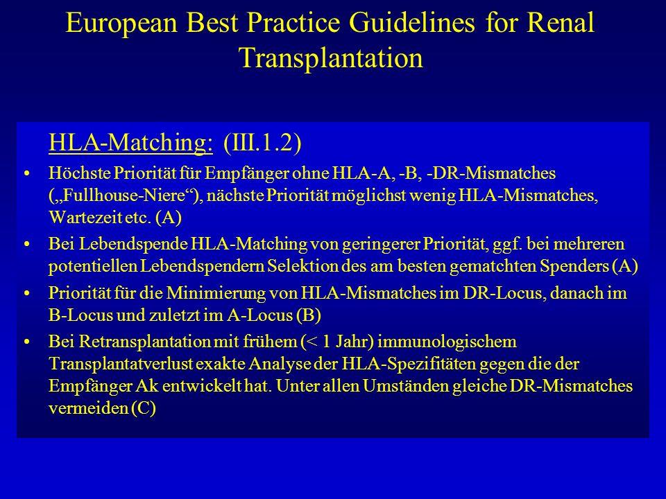European Best Practice Guidelines for Renal Transplantation HLA-Matching: (III.1.2) Höchste Priorität für Empfänger ohne HLA-A, -B, -DR-Mismatches (Fu