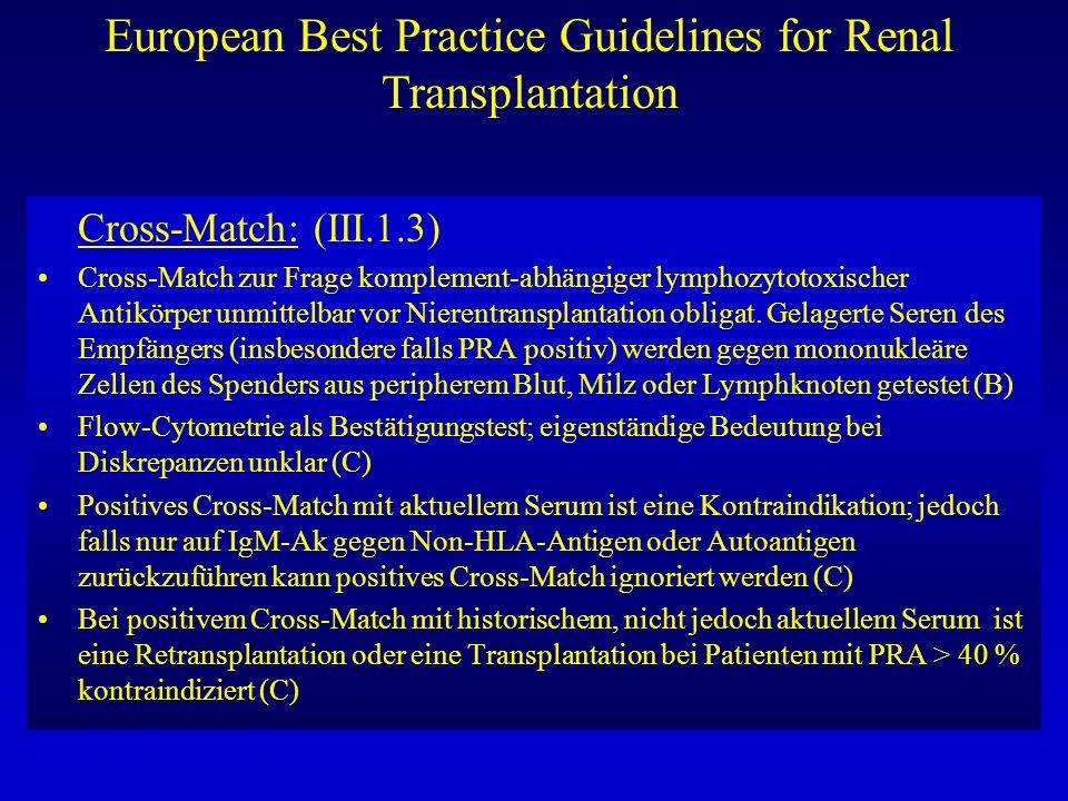 European Best Practice Guidelines for Renal Transplantation Cross-Match: (III.1.3) Cross-Match zur Frage komplement-abhängiger lymphozytotoxischer Ant