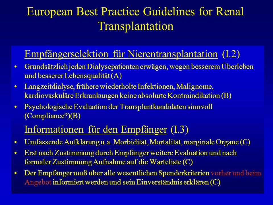 European Best Practice Guidelines for Renal Transplantation Absolute Kontraindikationen für Nierentransplantation (I.4) Unkontrolliertes Malignom, HIV, unkontrollierte systemische Infektion, Lebenserwartung < 2 Jahre (B) Risikofaktoren/Relative Kontraindikationen (I.5) 1.5.1 Tumor-Screening/Wartezeit wg.