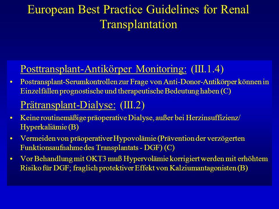 European Best Practice Guidelines for Renal Transplantation Posttransplant-Antikörper Monitoring: (III.1.4) Postransplant-Serumkontrollen zur Frage vo