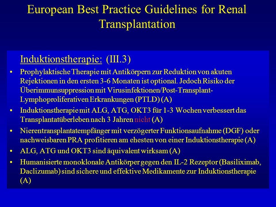 European Best Practice Guidelines for Renal Transplantation Induktionstherapie: (III.3) Prophylaktische Therapie mit Antikörpern zur Reduktion von aku