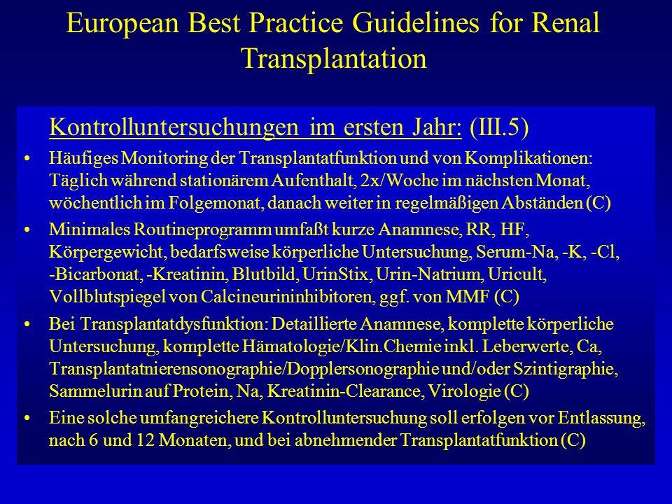 European Best Practice Guidelines for Renal Transplantation Kontrolluntersuchungen im ersten Jahr: (III.5) Häufiges Monitoring der Transplantatfunktio