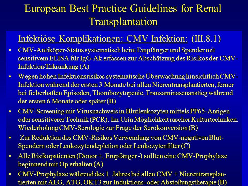 European Best Practice Guidelines for Renal Transplantation Infektiöse Komplikationen: CMV Infektion: (III.8.1) CMV-Antiköper-Status systematisch beim