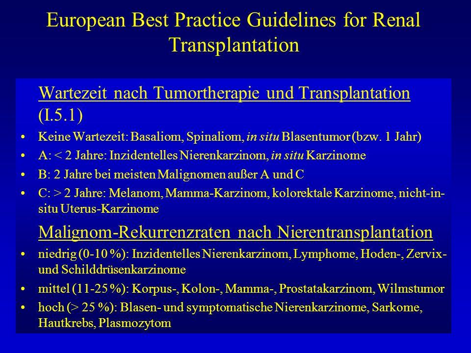 European Best Practice Guidelines for Renal Transplantation Infektiöse Komplikationen: CMV Infektion: (III.8.1) CMV-Antiköper-Status systematisch beim Empfänger und Spender mit sensitivem ELISA für IgG-Ak erfassen zur Abschätzung des Risikos der CMV- Infektion/Erkrankung (A) Wegen hohen Infektionsrisikos systematische Überwachung hinsichtlich CMV- Infektion während der ersten 3 Monate bei allen Nierentransplantierten, ferner bei fieberhaften Episoden, Thombozytopenie, Transaminasenanstieg während der ersten 6 Monate oder später (B) CMV-Screening mit Virusnachweis in Blutleukozyten mittels PP65-Antigen oder sensitiverer Technik (PCR).