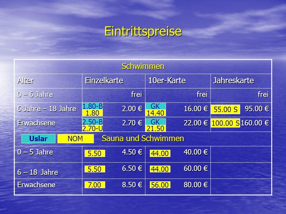 Eintrittspreise Schwimmen AlterEinzelkarte10er-KarteJahreskarte 0 – 6 Jahre freifreifrei 6 Jahre – 18 Jahre 2.00 2.00 16.00 16.00 95.00 95.00 Erwachse
