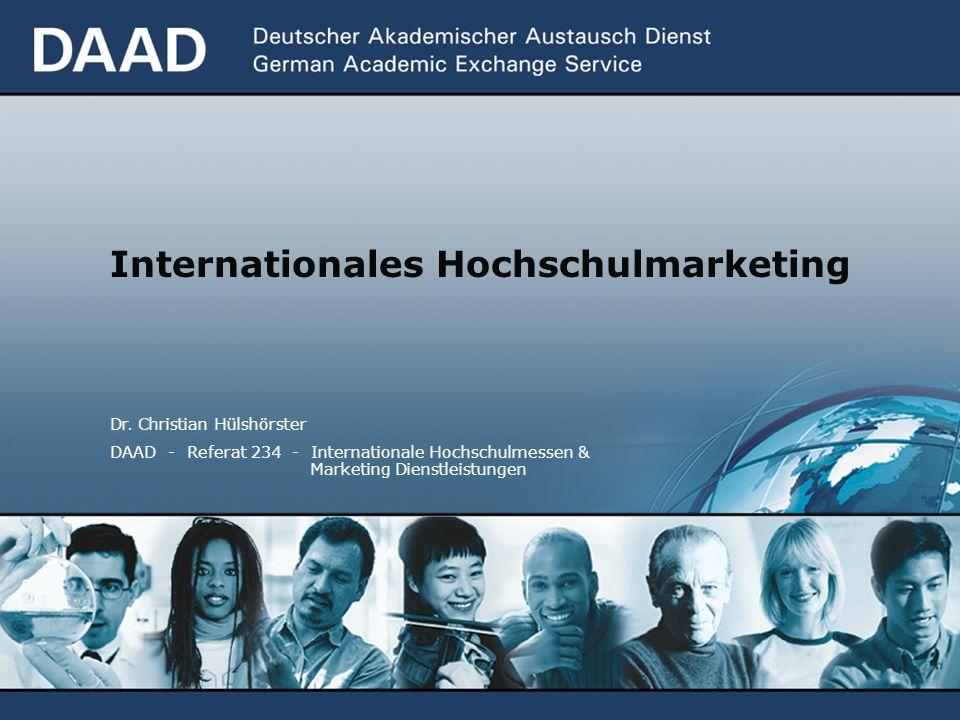 Internationales Hochschulmarketing Dr. Christian Hülshörster DAAD - Referat 234 - Internationale Hochschulmessen & Marketing Dienstleistungen