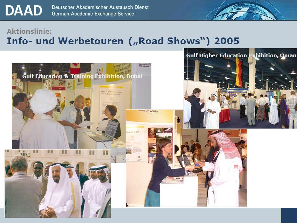 Aktionslinie: Info- und Werbetouren (Road Shows) 2005 Gulf Education & Training Exhibition, Dubai Gulf Higher Education Exhibition, Oman