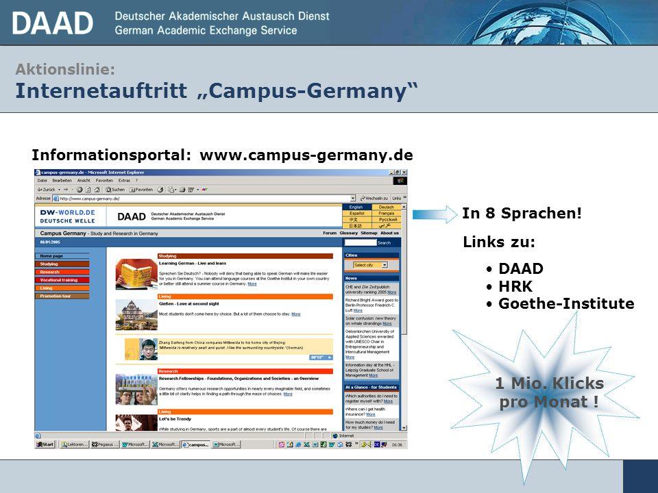 Aktionslinie: Internetauftritt Campus-Germany Informationsportal: www.campus-germany.de In 8 Sprachen! DAAD HRK Goethe-Institute Links zu: 1 Mio. Klic