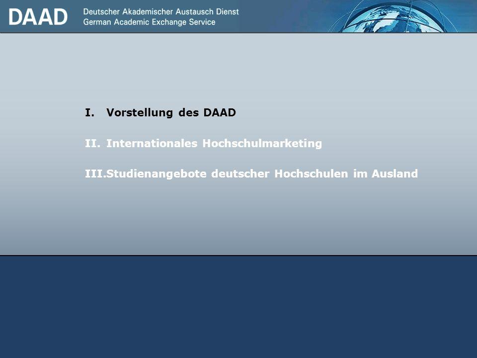 I.Vorstellung des DAAD II.Internationales Hochschulmarketing III.Studienangebote deutscher Hochschulen im Ausland