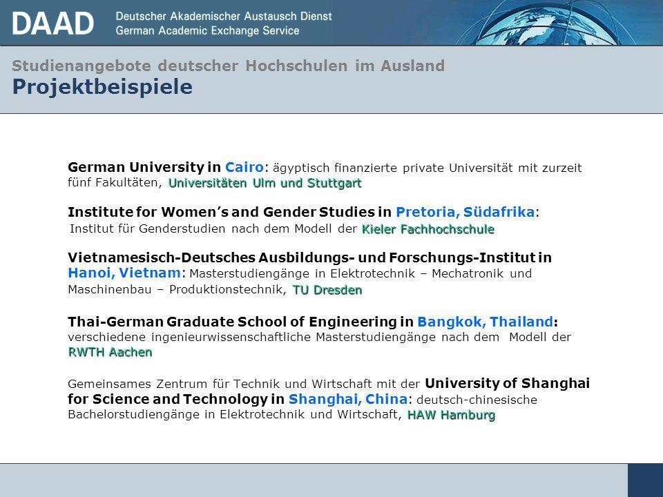 Studienangebote deutscher Hochschulen im Ausland Projektbeispiele Universitäten Ulm und Stuttgart German University in Cairo: ägyptisch finanzierte pr