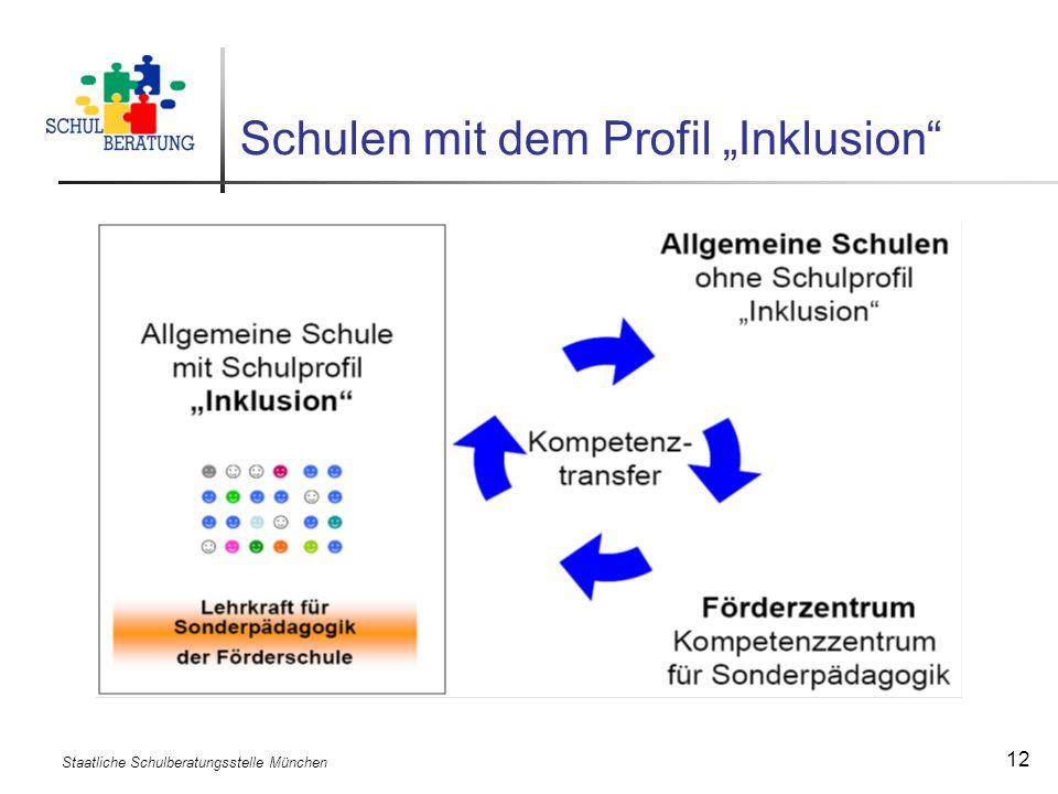 Staatliche Schulberatungsstelle München 12 Schulen mit dem Profil Inklusion