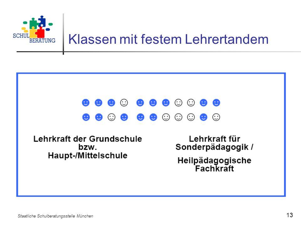 Staatliche Schulberatungsstelle München 13 Klassen mit festem Lehrertandem