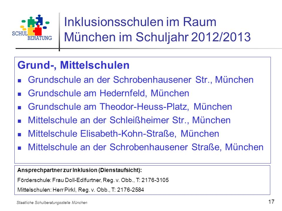 Staatliche Schulberatungsstelle München 17 Inklusionsschulen im Raum München im Schuljahr 2012/2013 Grund-, Mittelschulen Grundschule an der Schrobenh