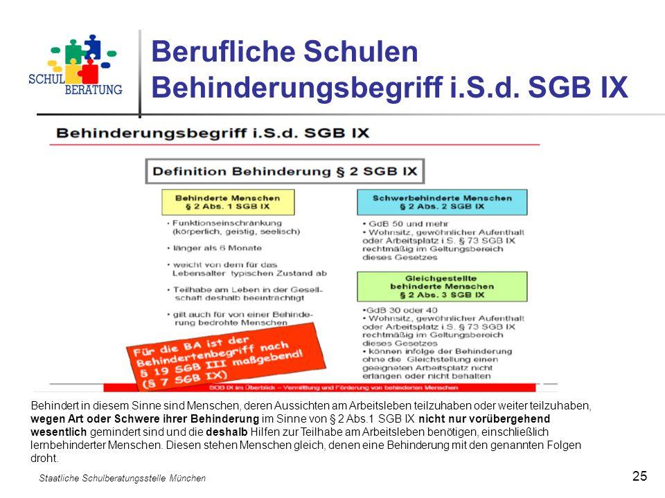 Staatliche Schulberatungsstelle München 25 Berufliche Schulen Behinderungsbegriff i.S.d. SGB IX Behindert in diesem Sinne sind Menschen, deren Aussich