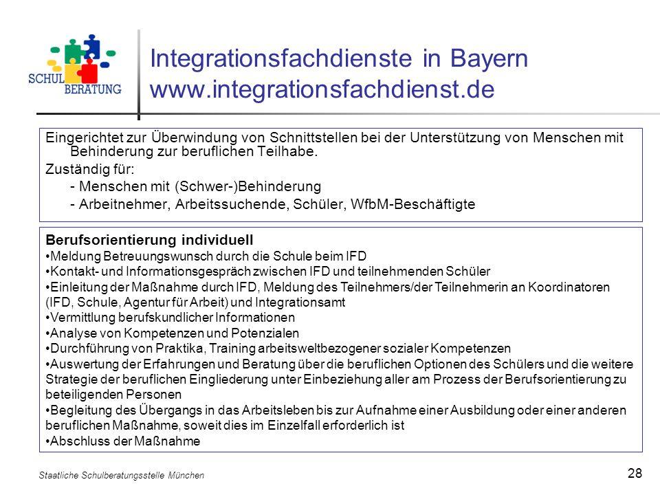 Staatliche Schulberatungsstelle München 28 Integrationsfachdienste in Bayern www.integrationsfachdienst.de Eingerichtet zur Überwindung von Schnittste