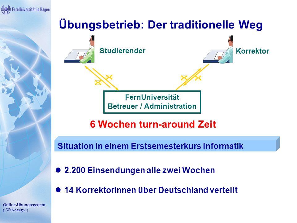 Online-Übungssystem (WebAssign) Übungsbetrieb: Der traditionelle Weg 14 KorrektorInnen über Deutschland verteilt 2.200 Einsendungen alle zwei Wochen S