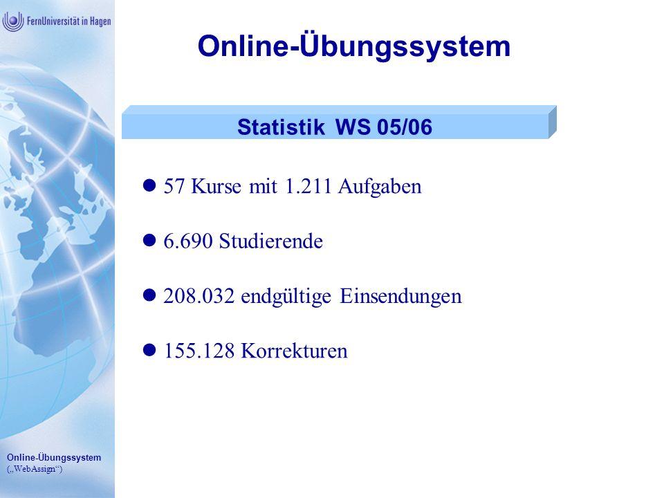 Online-Übungssystem (WebAssign) Online-Übungssystem Statistik WS 05/06 57 Kurse mit 1.211 Aufgaben 6.690 Studierende 208.032 endgültige Einsendungen 1