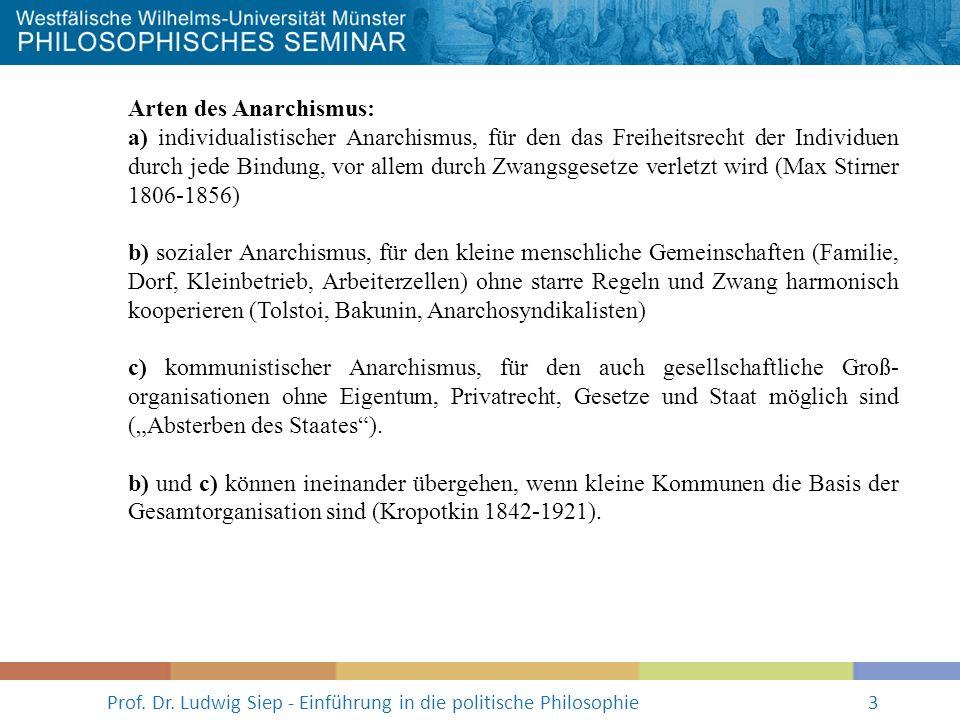 Prof. Dr. Ludwig Siep - Einführung in die politische Philosophie3 Arten des Anarchismus: a) individualistischer Anarchismus, für den das Freiheitsrech