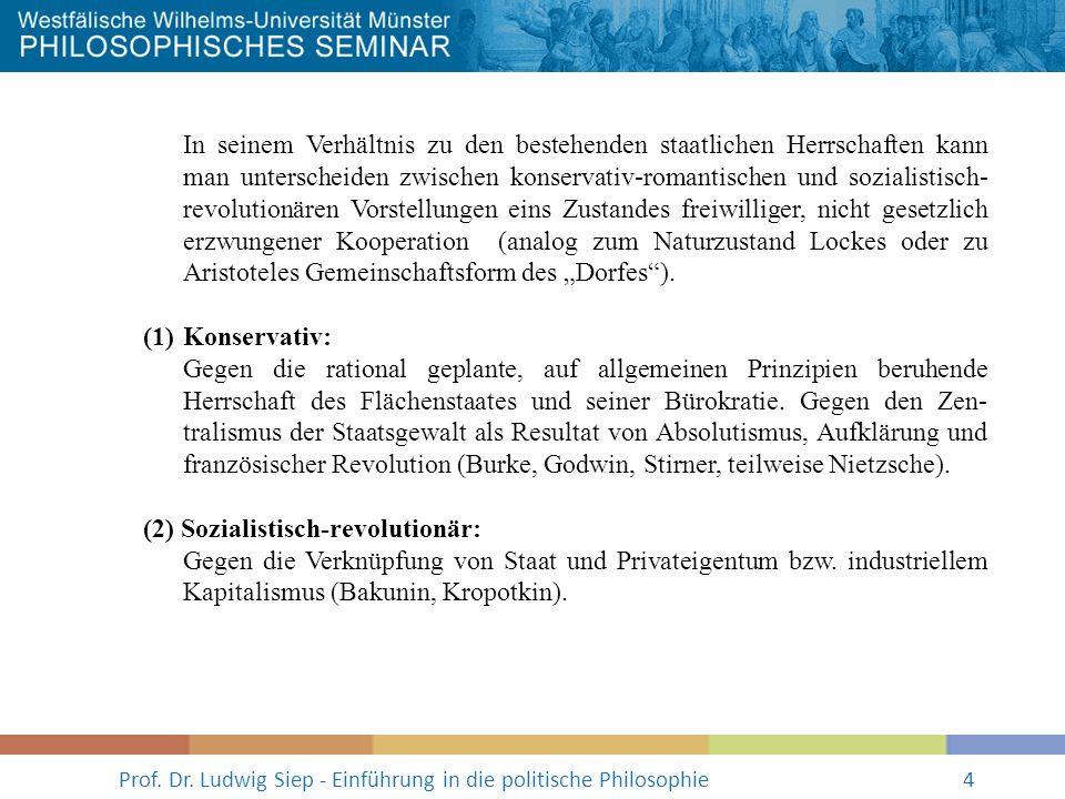 Prof. Dr. Ludwig Siep - Einführung in die politische Philosophie4 In seinem Verhältnis zu den bestehenden staatlichen Herrschaften kann man unterschei