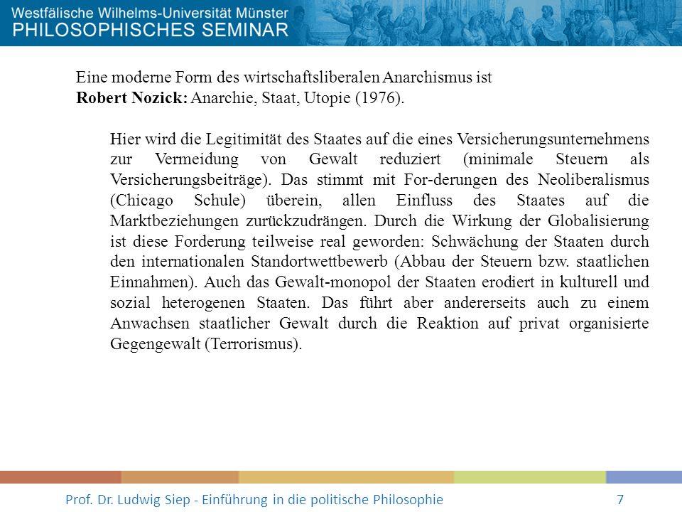 Prof. Dr. Ludwig Siep - Einführung in die politische Philosophie7 Eine moderne Form des wirtschaftsliberalen Anarchismus ist Robert Nozick: Anarchie,