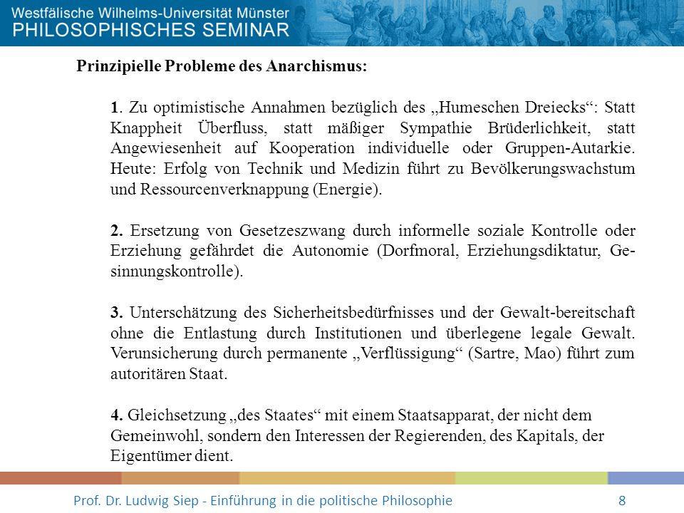 Prof. Dr. Ludwig Siep - Einführung in die politische Philosophie8 Prinzipielle Probleme des Anarchismus: 1. Zu optimistische Annahmen bezüglich des Hu
