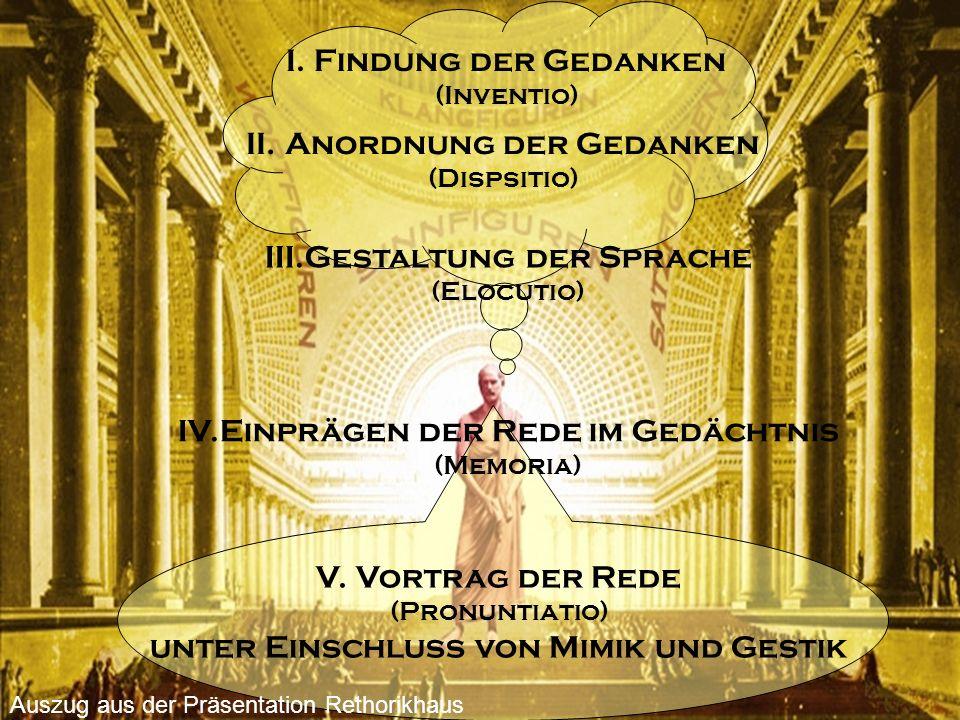 V. Vortrag der Rede (Pronuntiatio) unter Einschluss von Mimik und Gestik I. Findung der Gedanken (Inventio) II. Anordnung der Gedanken (Dispsitio) III