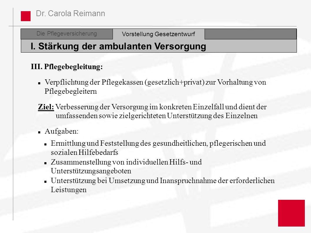 Dr. Carola Reimann Die Pflegeversicherung I. Stärkung der ambulanten Versorgung Vorstellung Gesetzentwurf III. Pflegebegleitung: Verpflichtung der Pfl