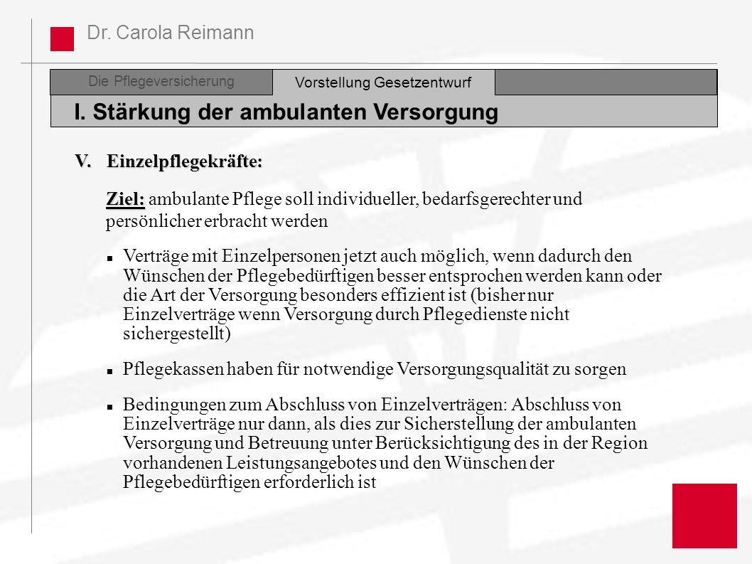 Dr. Carola Reimann Die Pflegeversicherung I. Stärkung der ambulanten Versorgung Vorstellung Gesetzentwurf V. Einzelpflegekräfte: Ziel: Ziel: ambulante