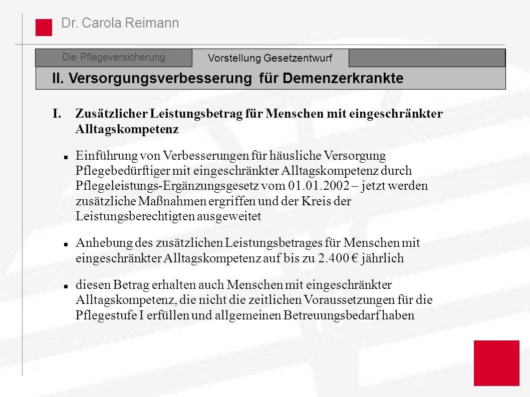 Dr. Carola Reimann Die Pflegeversicherung II. Versorgungsverbesserung für Demenzerkrankte Vorstellung Gesetzentwurf I.Zusätzlicher Leistungsbetrag für