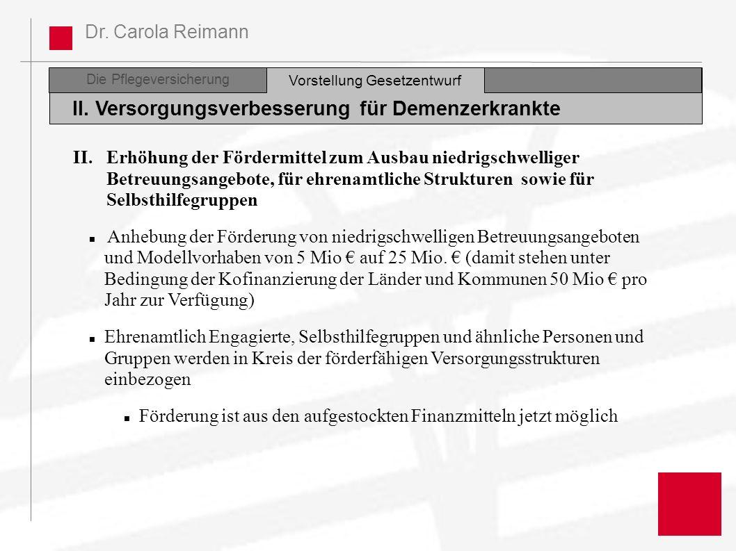 Dr. Carola Reimann Die Pflegeversicherung II. Versorgungsverbesserung für Demenzerkrankte Vorstellung Gesetzentwurf II.Erhöhung der Fördermittel zum A
