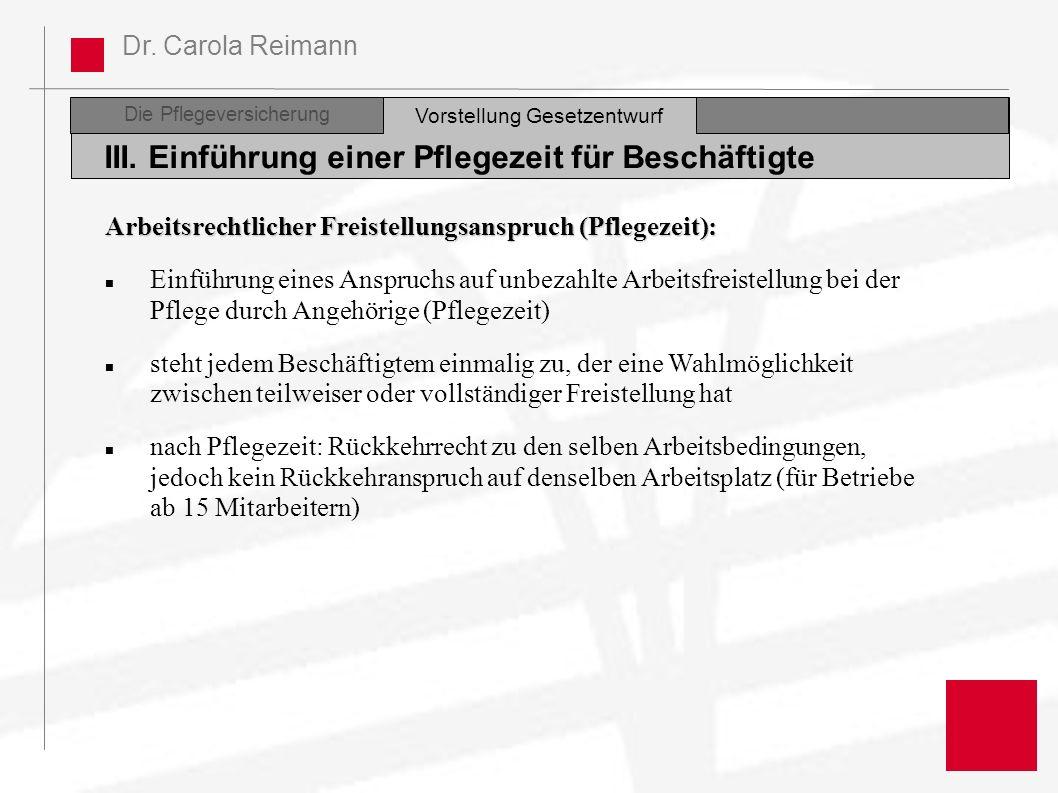 Dr. Carola Reimann Die Pflegeversicherung III. Einführung einer Pflegezeit für Beschäftigte Vorstellung Gesetzentwurf Arbeitsrechtlicher Freistellungs