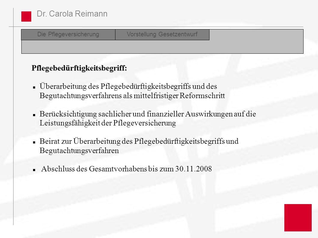 Dr. Carola Reimann Die PflegeversicherungDiskussion Perspektiven der Reform Vorstellung Gesetzentwurf Pflegebedürftigkeitsbegriff: Überarbeitung des P