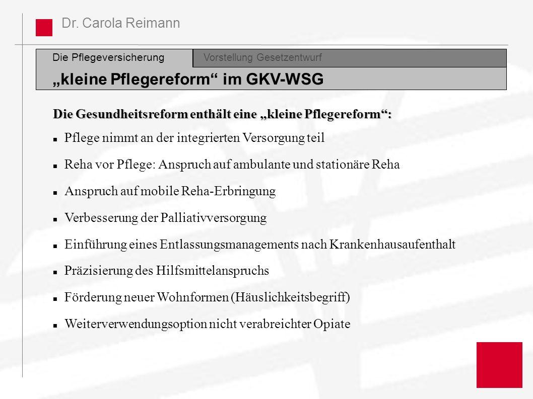 Dr. Carola Reimann Die Pflegeversicherung Vorstellung GesetzentwurfDiskussion kleine Pflegereform im GKV-WSG Die Gesundheitsreform enthält eine kleine